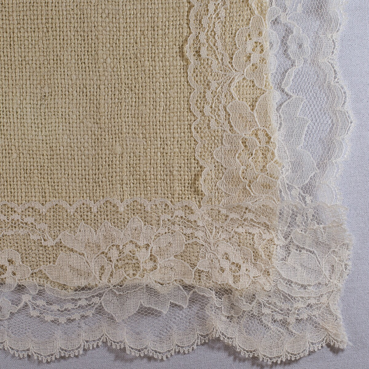 Ivory Burlap with Lace